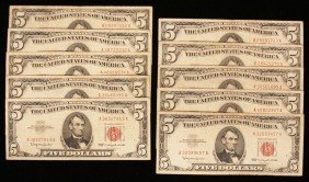 Lot Of (10) 1963 $5 U.S. Lincoln Red Seal Notes PMP8