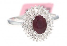 14KT White Gold 1.13ct Ruby And Diamond Ring FJM972