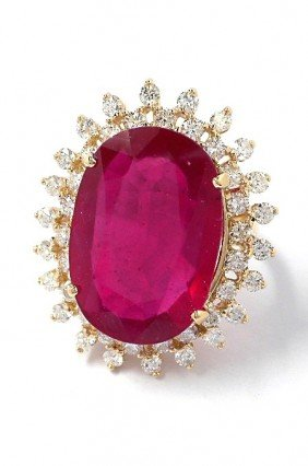 14KT Yellow Gold 16.44ct Ruby And Diamond Ring A3637