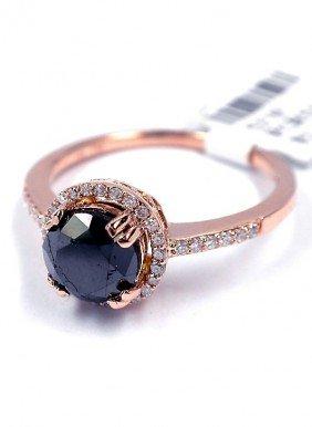 14KT Rose Gold 1.54ct Black And White Diamond Ring J43