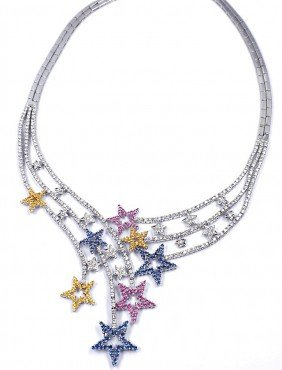 18KT White Gold Multi-Color Sapphire And Diamond Star N