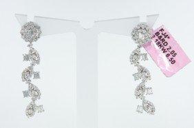 18KT White Gold 2.05ct Diamond Dangle Vine Earrings FJM