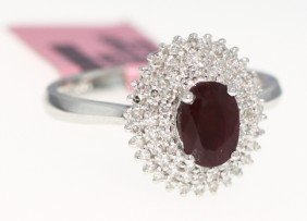 14KT White Gold 1.13ct Ruby And Diamond Ring FJM756