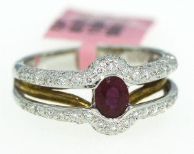 18KT White Gold .58ct Ruby And Diamond Ring FJM750