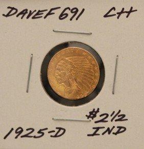 1925-D $2 1/2 C++ Indian Head Quarter Eagle Gold Coin D