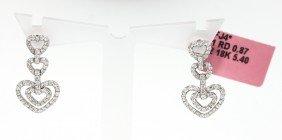 18KT White Gold .87ct Diamond Heart Drop Earrings FJM12