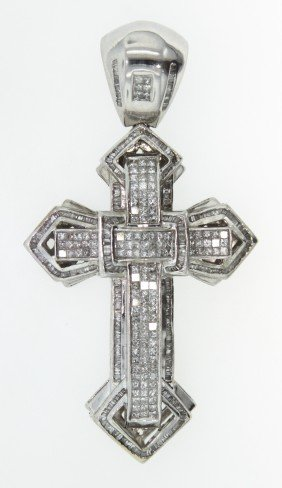 14KT White Gold Diamond Cross Pendant 5.88ct A3732