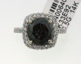 14KT White Gold 5.7ct Black & White Diamond Ring RM473