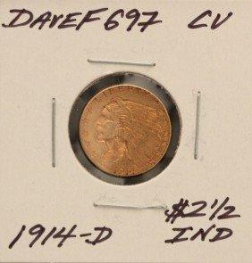 1914-D $2 1/2 CU Indian Head Quarter Eagle Gold Coin Da
