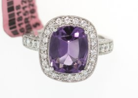 14KT White Gold 3ct Amethyst And Diamond Ring FJM1415