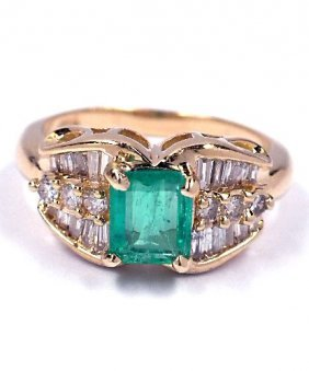 14KT Yellow Gold .65ct Emerald And .79ct Diamond Ring A