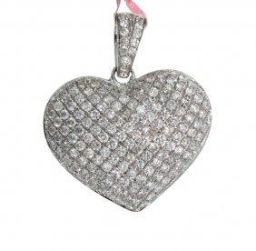 14KT White Gold 2.43ct Diamond Heart Shaped Pendant FJM