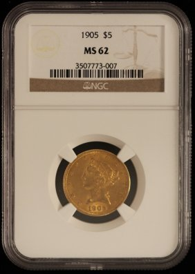 1905 $5 NGC MS62 Liberty Head Half Eagle Gold Coin Dave