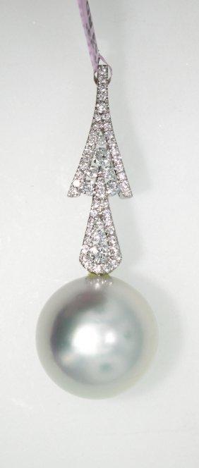 18KT White Gold 15.00mm Pearl & Diamond Pendant FJM1341