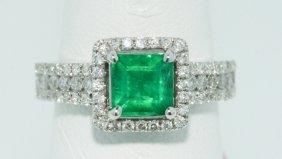 18KT White Gold 1.06ct Emerald Ring FJM1254