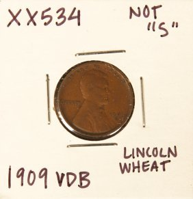 1909 VDB Lincoln Wheat Penny XX534