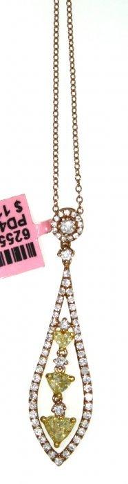 18KT Rose Gold Fancy Yellow Diamond Pendant On Chain FJ