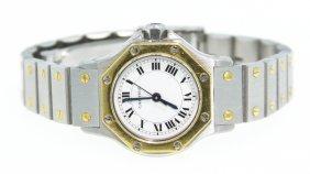 Vintage Two-Tone Ladies Cartier Santos Octagon Watch NS
