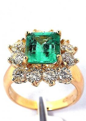 14KT Yellow Gold 2.1ct Emerald And Diamond Ring A3656