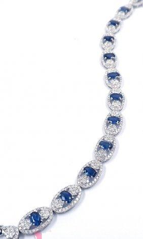 14KT White Gold 6.63ct Sapphire & Diamond Bracelet FJM1