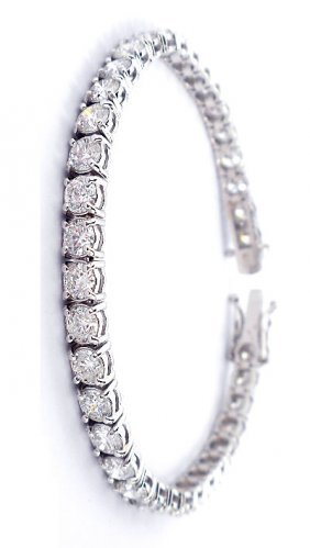 18KT White Gold 14.7ct Diamond Tennis Bracelet A3286