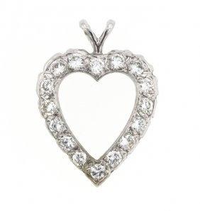 14KT White Gold Diamond Heart Shaped Pendant STN64