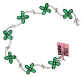 14KT White Gold 11.67ct Emerald & Diamond Bracelet FJM1