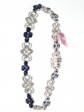 14KT White Gold 6.92ct Sapphire & Diamond Bracelet FJM1