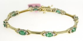 14KT Yellow Gold 3.12ct Emerald And Diamond Bracelet FJ