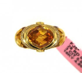 18KT Yellow Gold 5.00ct Citrine & Diamond Ring FJM1604
