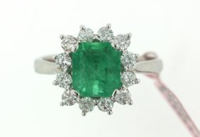 18KT White Gold 2.20ct Emerald And Diamond Ring FJM1481