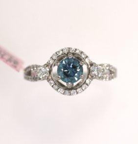 18KT White Gold 0.99tcw Blue Diamond Ring FJM1550