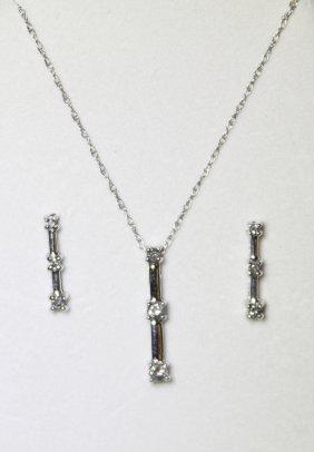 10KT White Gold Diamond Pendant & Earrings Set RTJ121