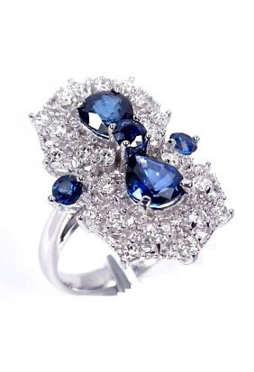 14KT White Gold 2.49ct Sapphire And Diamond Ring A3651