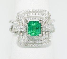 18KT White Gold 0.90ct Emerald Ring FJM1263