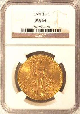 1924 $20 NGC MS64 St. Gaudens Double Eagle Gold Coin Da