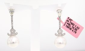 18KT White Gold Pearl And Diamond Drop Earrings FJM1025