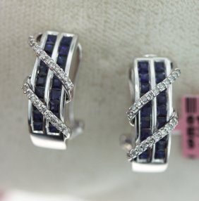 14KT White Gold 1.77ct Sapphire & Diamond Earrings FJM1