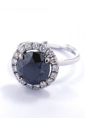 14KT White Gold 3.75ct Black And White Diamond Ring J13