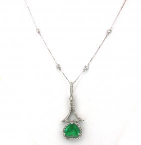 14KT White Gold 2.31ct Emerald & Diamond Pendant On Cha