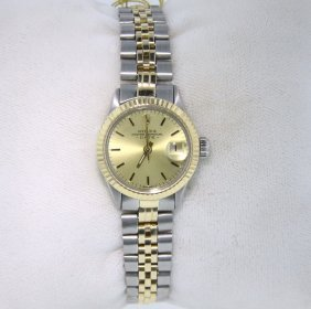 Ladies Rolex Two-Tone Date Model Wristwatch RM485
