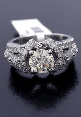 14KT White Gold 2.15ct Diamond Unity Ring A3539