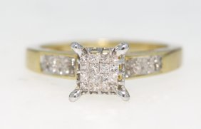 14KT Yellow Gold Diamond Square Cluster Ring GD366