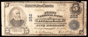 Rare Series 1902 $5 National Currency Blue Seal Pittsbu