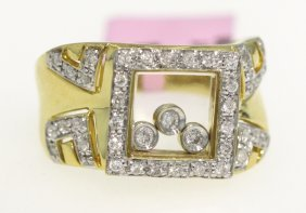 14KT Yellow Gold .36ct Diamond Chopard Inspired Ring FJ
