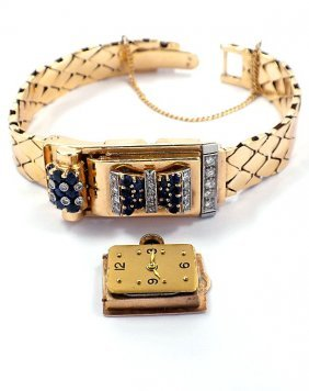 14KT Yellow Gold Hidden Dial Sapphire And Diamond Watch