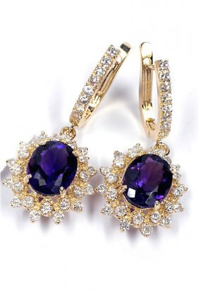 14KT Yellow Gold Amethyst, Sapphire And Diamond Earring