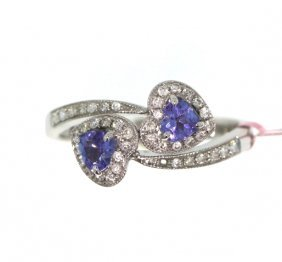 14KT White Gold 0.49ct Tanzanite & Diamond Ring FJM1740