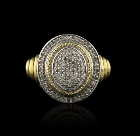 Vintage Designer JWBR Pave Diamond Sterling With Gold O