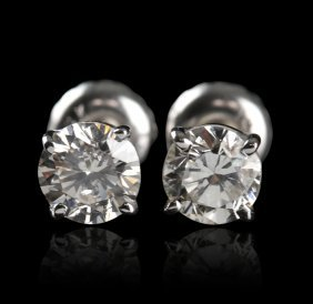 14KT White Gold 1.01ctw Diamond Solitaire Earrings A441
